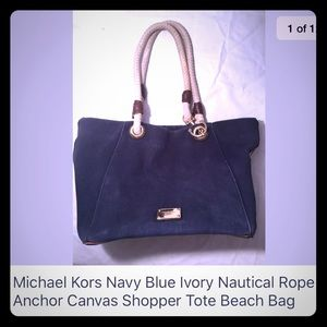 Michael Kors Navy Blue Ivory Canvas Tote Beach Bag